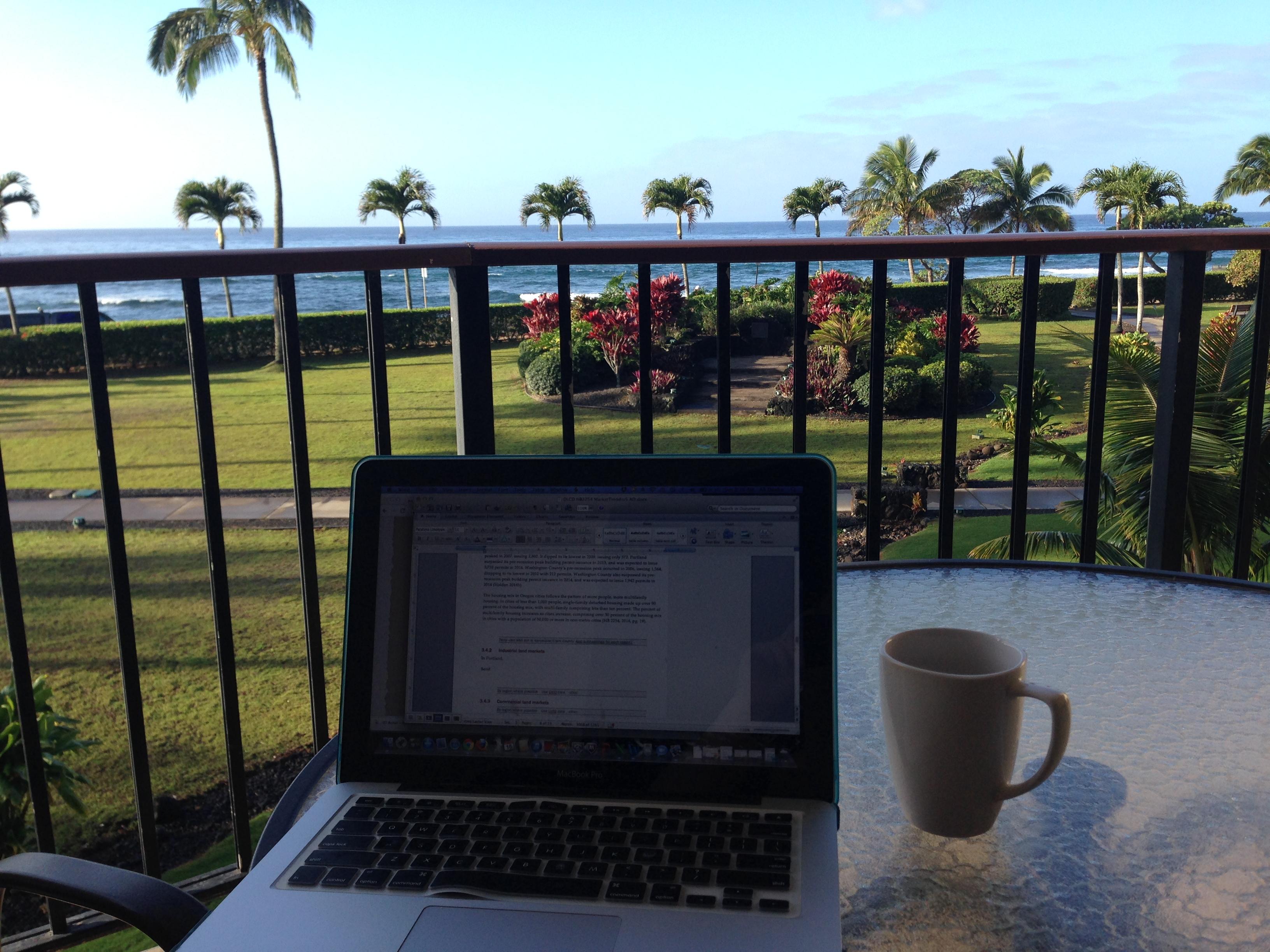 Alison Danko_ECONorthwest_Working Remotely from Kauai