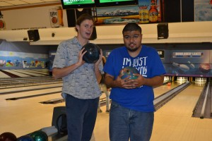 Parks and Joey ready to bowl!