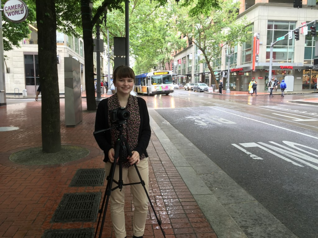 Me on the streets of Portland, filming for the video project