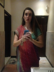 Bathroom sari selfie.