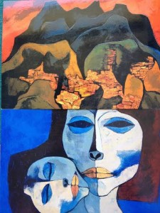 "Postcards of Guayasamin's works ""Quito Rojo"" (oil on canvas, 80x100cm, Quito-Ecuador 1987) and ""Maternidad"" (oil on canvas, 80x100cm, Quito-Ecuador 1989). Of Guayasamín's three artistic periods, the third was devoted exclusively to paintings of mother and child."