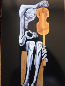 """El Violinista,"" Oswaldo Guayasamín (oil on canvas, 182.5x67cm, Quito - Ecuador, 1966)"