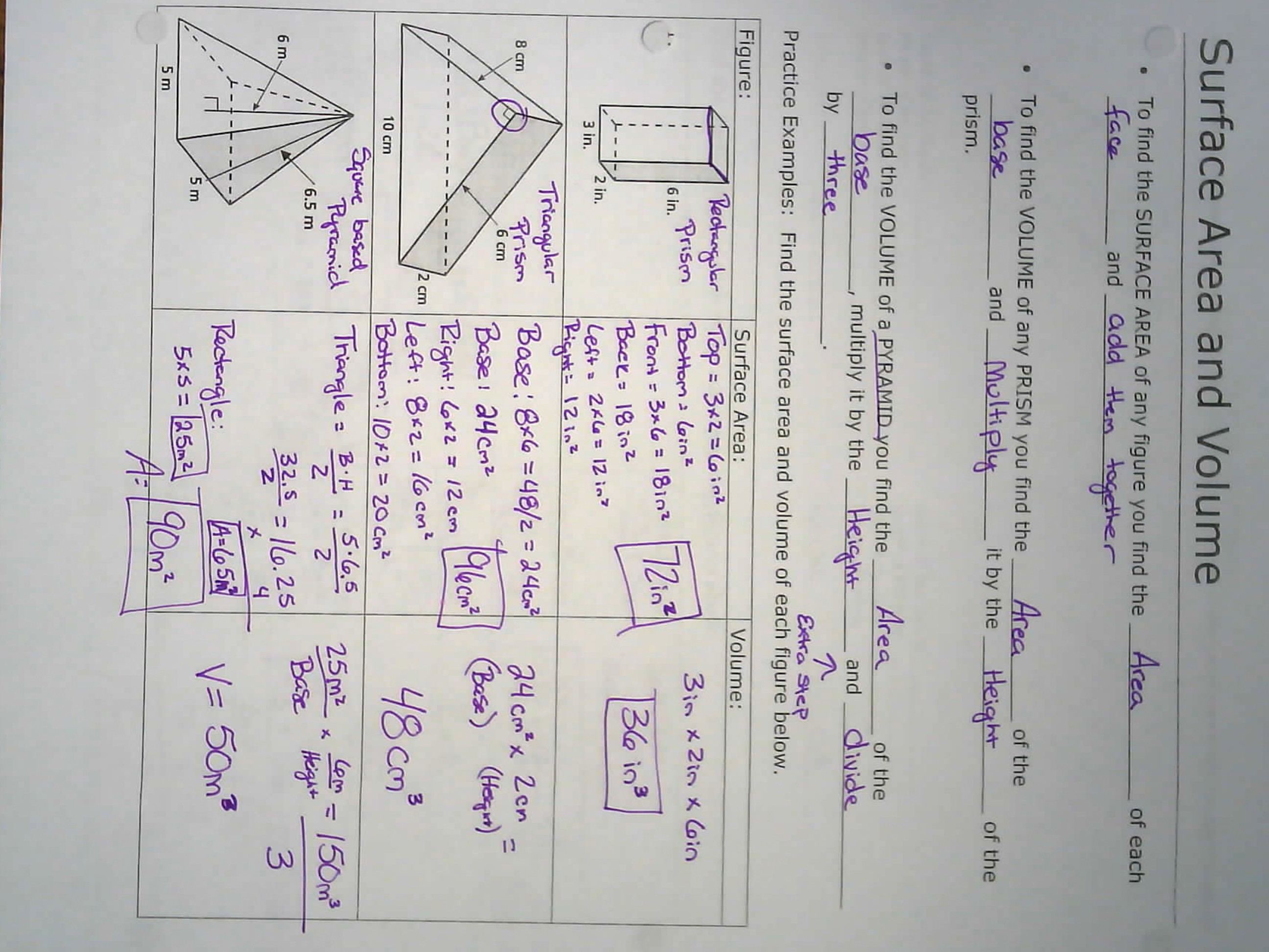 To Calculate How Topic 15 Area And Perimeter Prism And Pyramid Notes