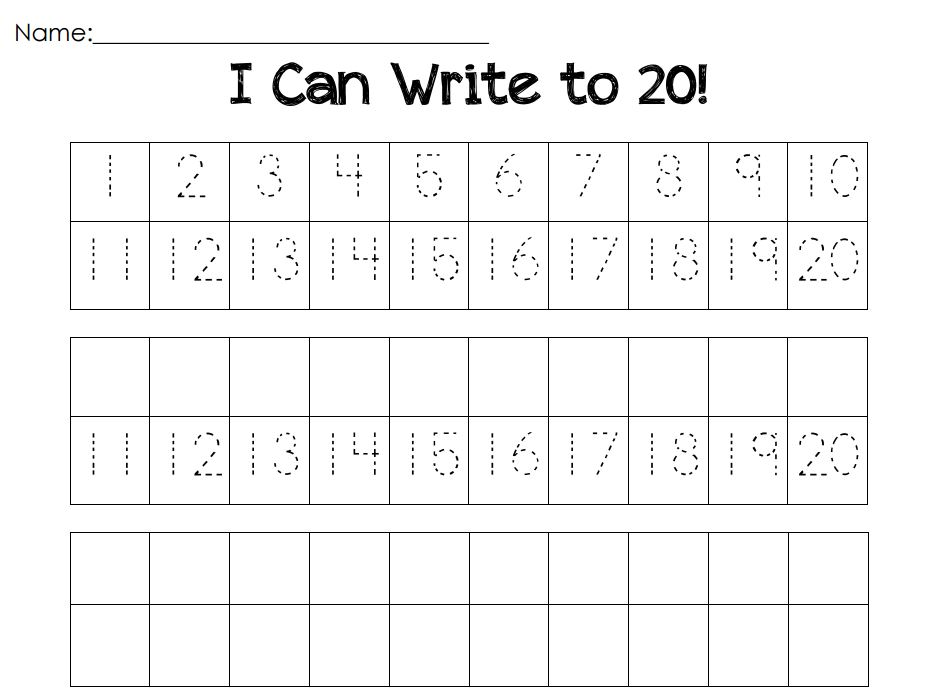 Preschool Worksheets Numbers 1 20 : Writing numbers kindergarten images about
