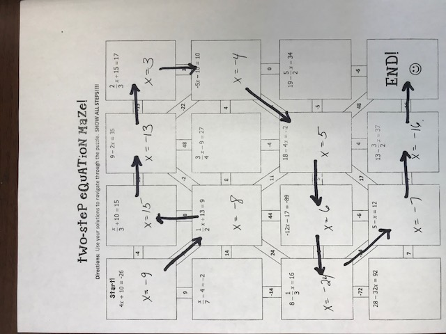 Two Step Equations Maze Answers Key - Tessshebaylo