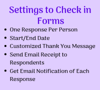 Settings to check in Forms