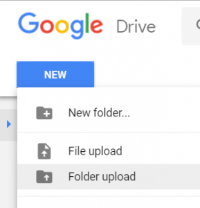 Folder Upload menu