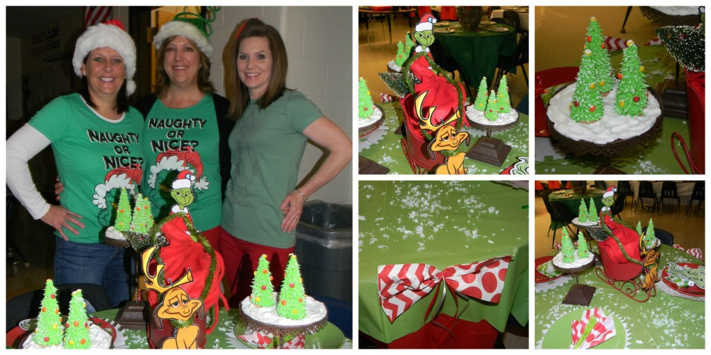 Mrs. Webb, Mrs. Connaughton & Mrs. Baker show off their holiday table.