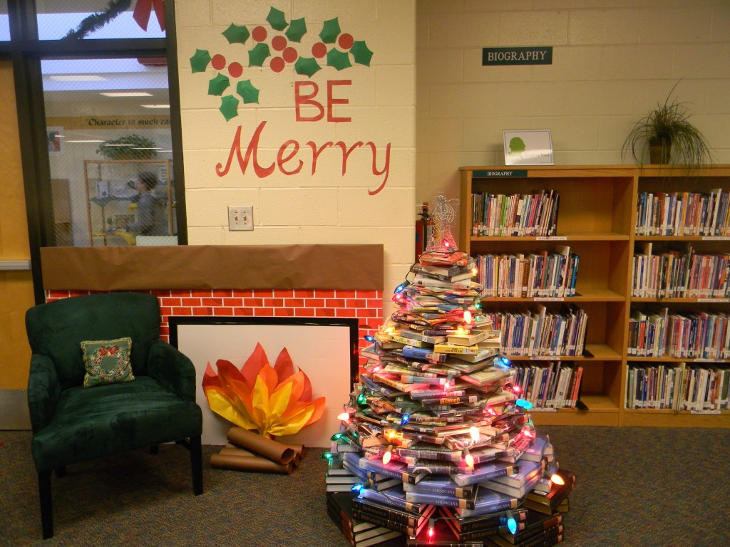 It took 219 books to create this year's book tree.