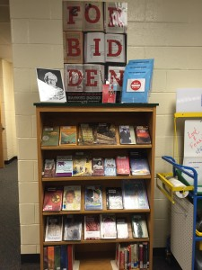 Challenged books are featured in the media center, along with take away brochures highlighting the most challenged books of the year.