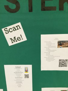 Passers by can scan the QR codes to listen to the students reciting their poems.