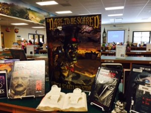 Spooky books are on display