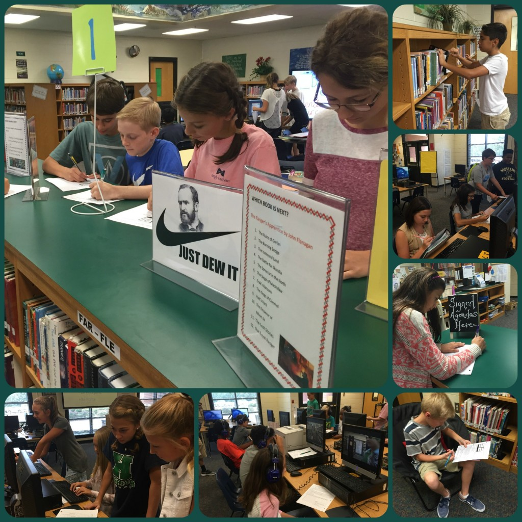 7th grade students review the media center policies and procedures by completing a variety of standards-based activities in stations around the library.
