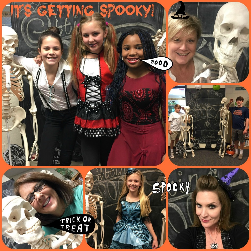 Patrons snap selfies in the Spooky Books Photo Booth!