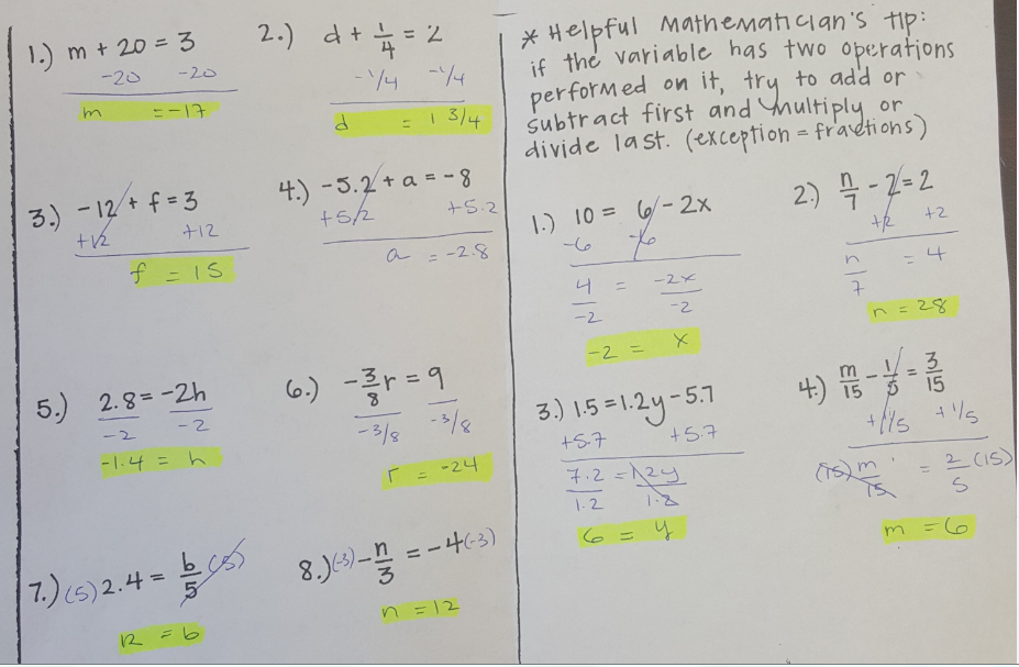 Solving equations with variables on both sides worksheet answer key