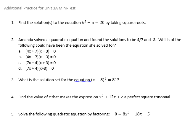 Ms  Henry's Blog » Blog Archive » Additional Practice for Unit 3A
