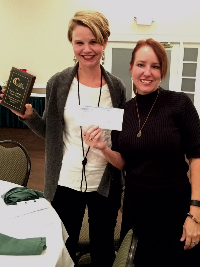 Ms. Buckert and Ms. Colvin were honored at the Cobb Schools Foundation annual dinner. Their grant was one of 19 awarded to over 130 applicants.