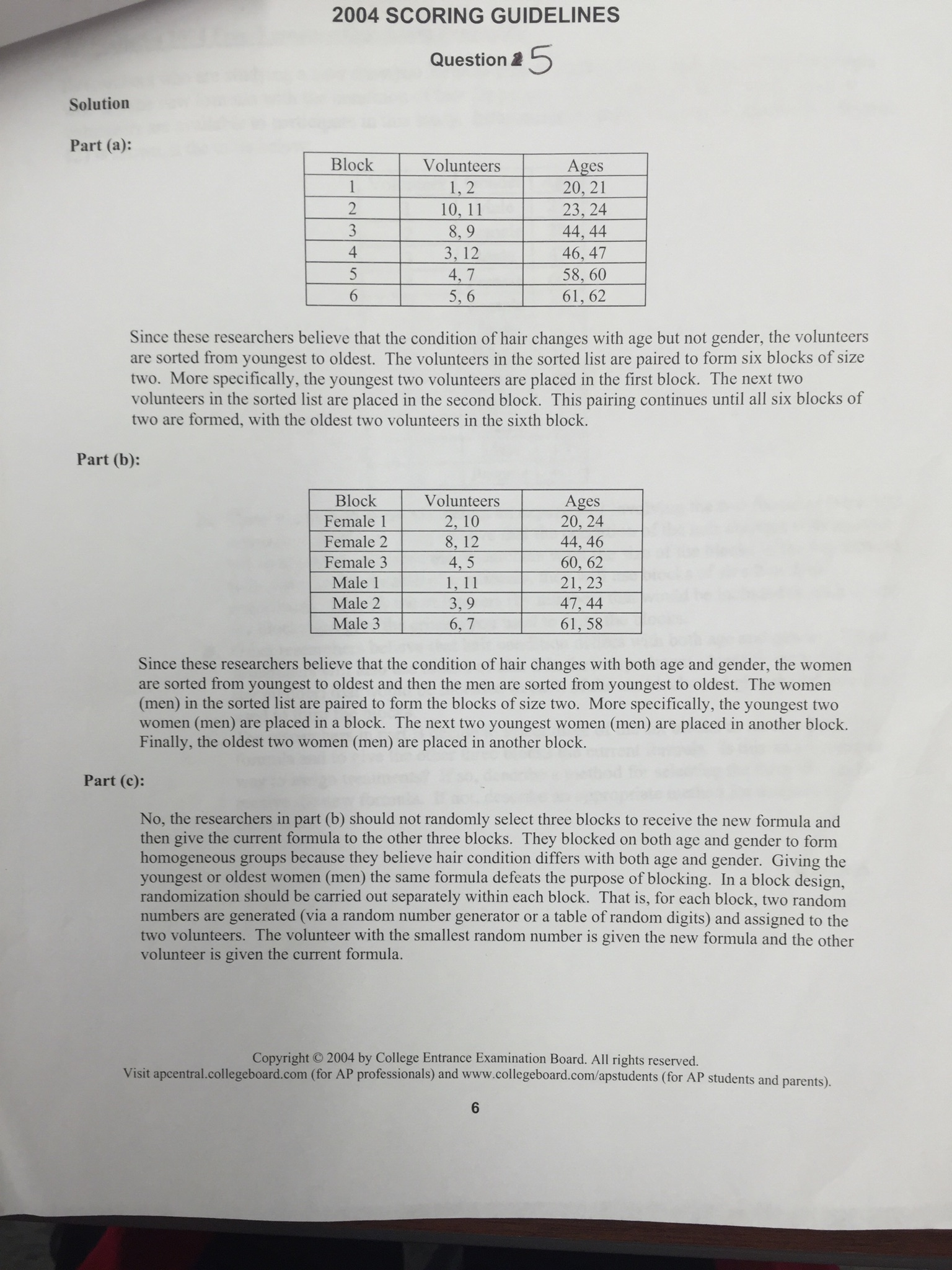 2004 ap statistics free response answers question 6