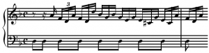 Repeated Pedal Tone Bassline Under a Melody