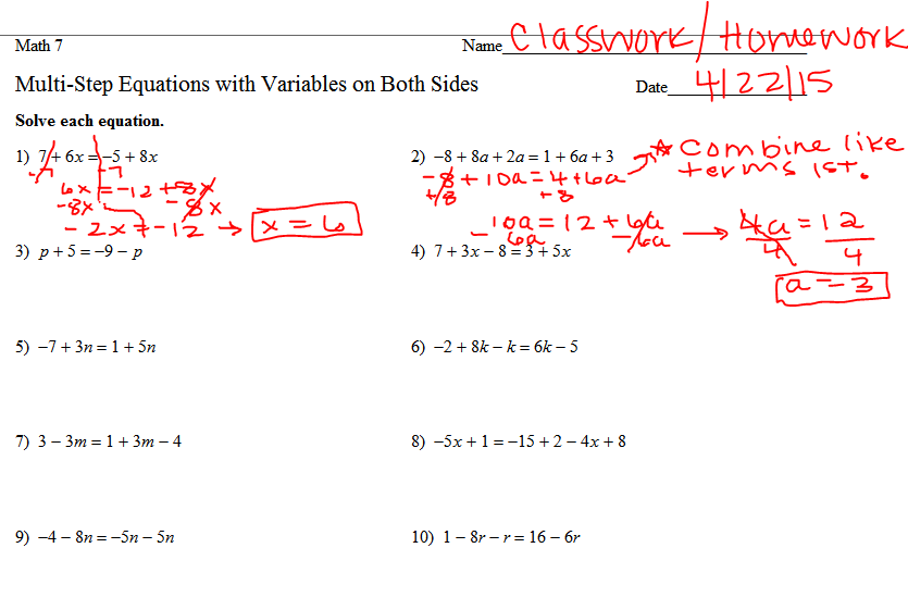 7th Grade Math and Social Studies Author samanthaharper – Equations with Variables on Both Sides Worksheet