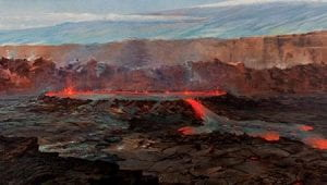 lava coming from volcano