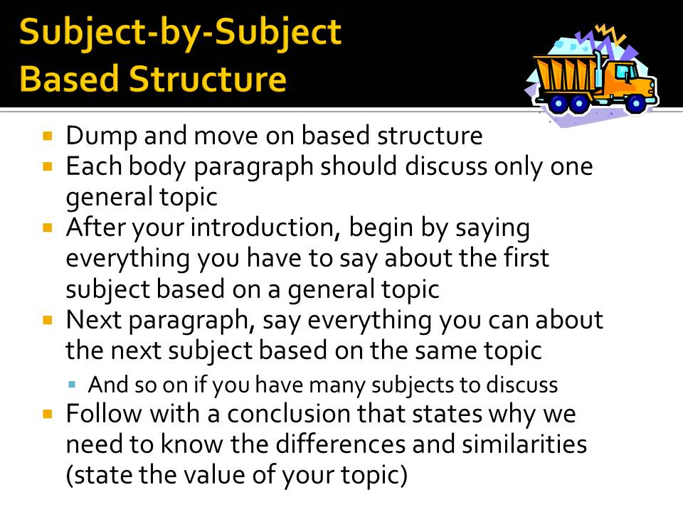 Compare contrast essay subject
