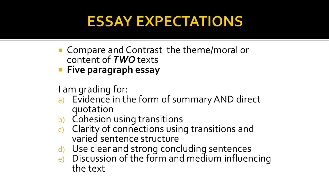 Sample Compare and Contrast Outline