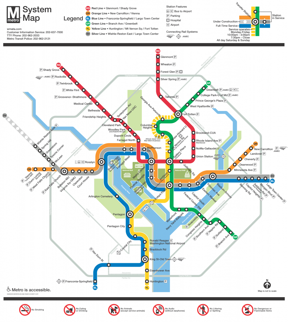 Map of D.C. metro system with colored lines indicating the various routes with black and white targets showing where stops are made and transfers are available.
