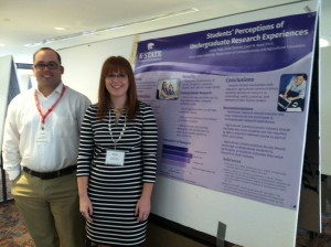 Jessie Topp and Scott Stebner pose with their second-place research poster.