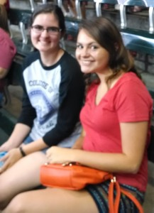 Jill Seiler (left) and Malerie Strahm (right) take in a Diamondbacks baseball game during downtime at AMS.