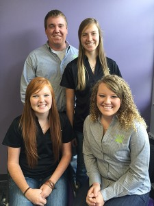 The members of the TASK Force are (back row, from left) Jake Rutledge, senior; Baylee Siemens, sophomore; Courtney Schamberger, junior; Cheyenne Moyer, graduate student.