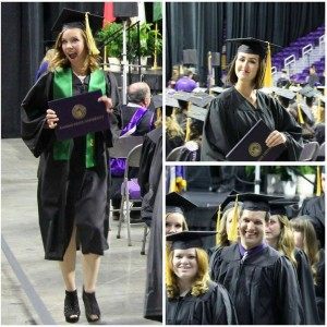 A few candid snapshots from the College of Agriculture graduation ceremony. Pictured: Nicole Lane (left), Jordan Pieschl (upper right), Sarah Harris and Daniel Martin (bottom right).