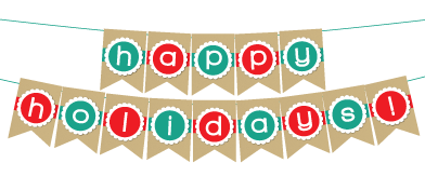 Genius image in happy holidays banner printable