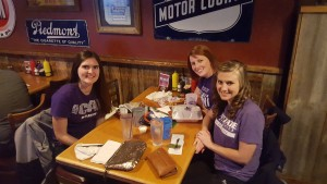 Jill Seiler, Audrey Schmitz, and Audrey King enjoyed a meal at Eskimo Joe's while attend the ACT PDC.