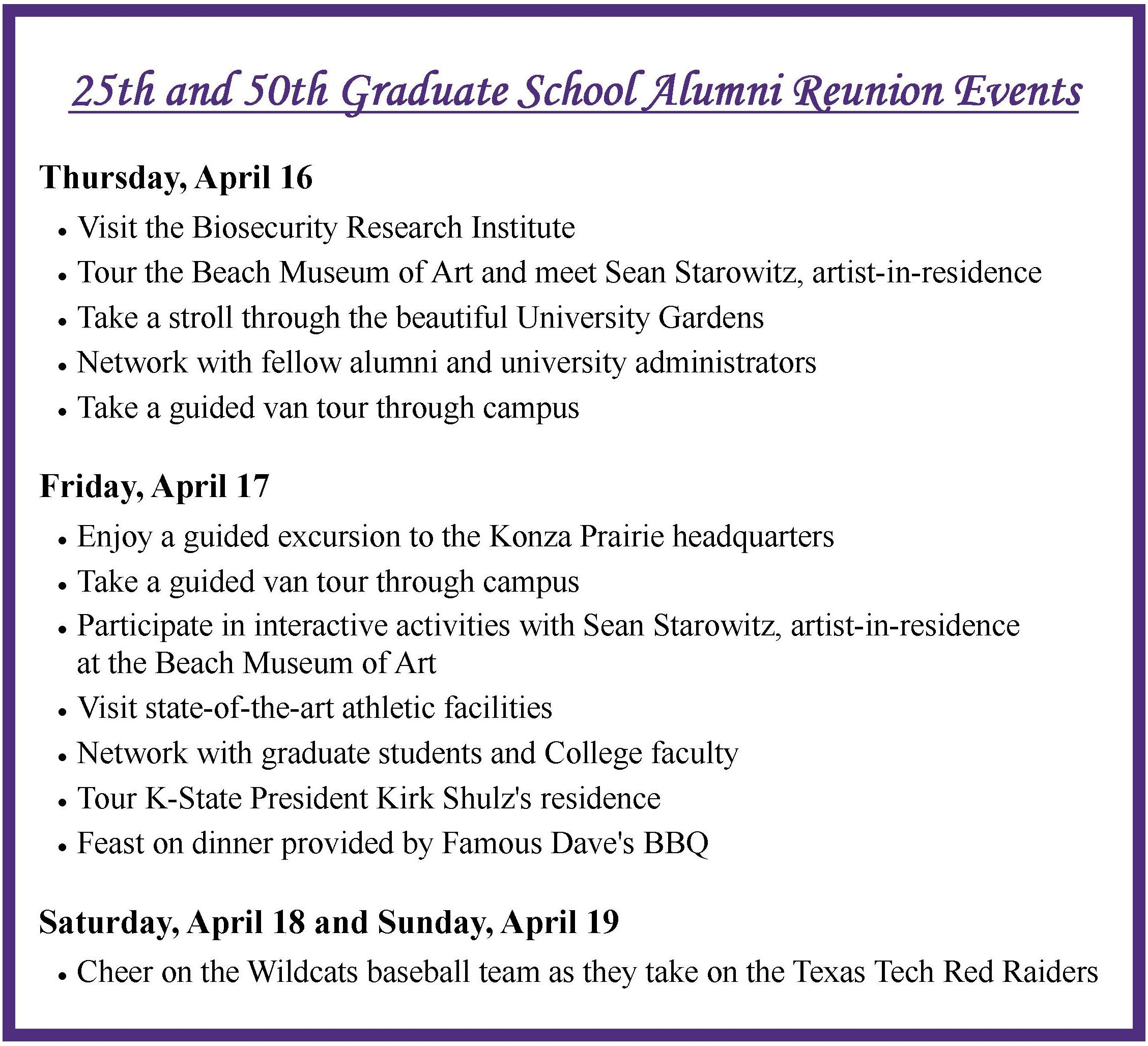 Alumni Reunion schedule for e-newsletter