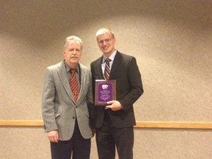 Dr. Thomas J. Barstow with Ryan Broxterman, receiving the GRA of the Year.