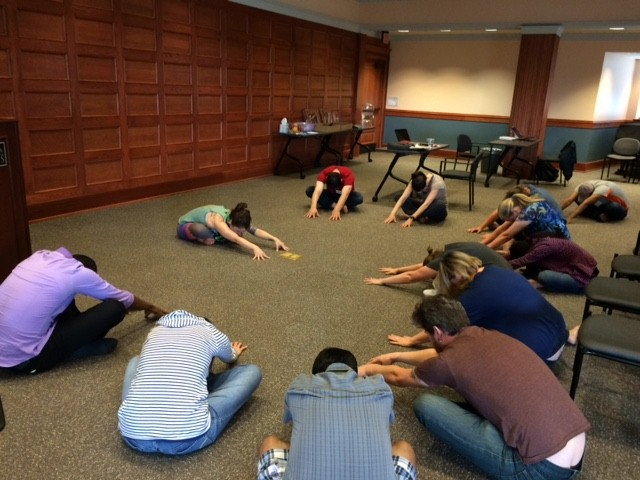 Optional daily yoga during the dissertation writing retreat week.