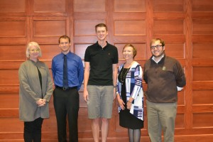 Associate Dean Gerry Craig, Adam Kell, Sam Procter, Dean Carol Shanklin and Andrew Marshall