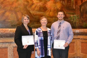 Capitol Graduate Research Summit winners, Carolina Ylioja and Matthew Galliart with Dr. Carol Shanklin