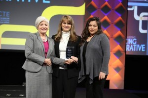 Dean Debbie Mercer and Amanda Morales are presented with a prestigious diversity award from AACTE.