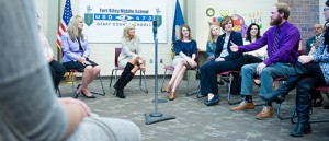 Dr. Jill Biden mets with Dean Mercer and future teachers during her trip to Fort Riley.