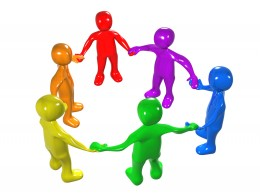 Royalty-free 3d computer generated people clipart picture image of a diverse circle of colorful people holding hands, symbolizing teamwork, friendship, support and unity.