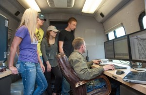 KSU students in recording truck