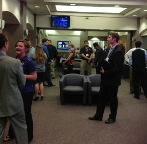 NSSI Studnet Tyler Maneth explores his options at the 2012 Sales Career Fair