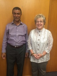 Diane Patrick meeting with Dean Chakrabarti during her recent visit to campus