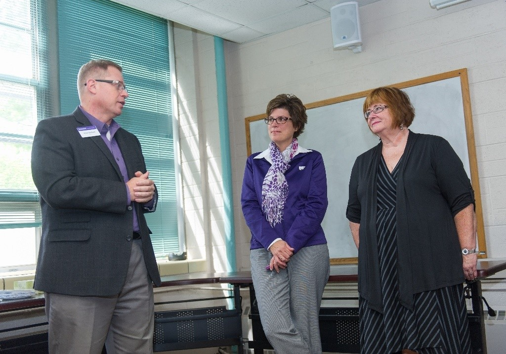 Dean Peter Dorhout, Sheila Walker and Sandy Chastan at the dedication ceremony.