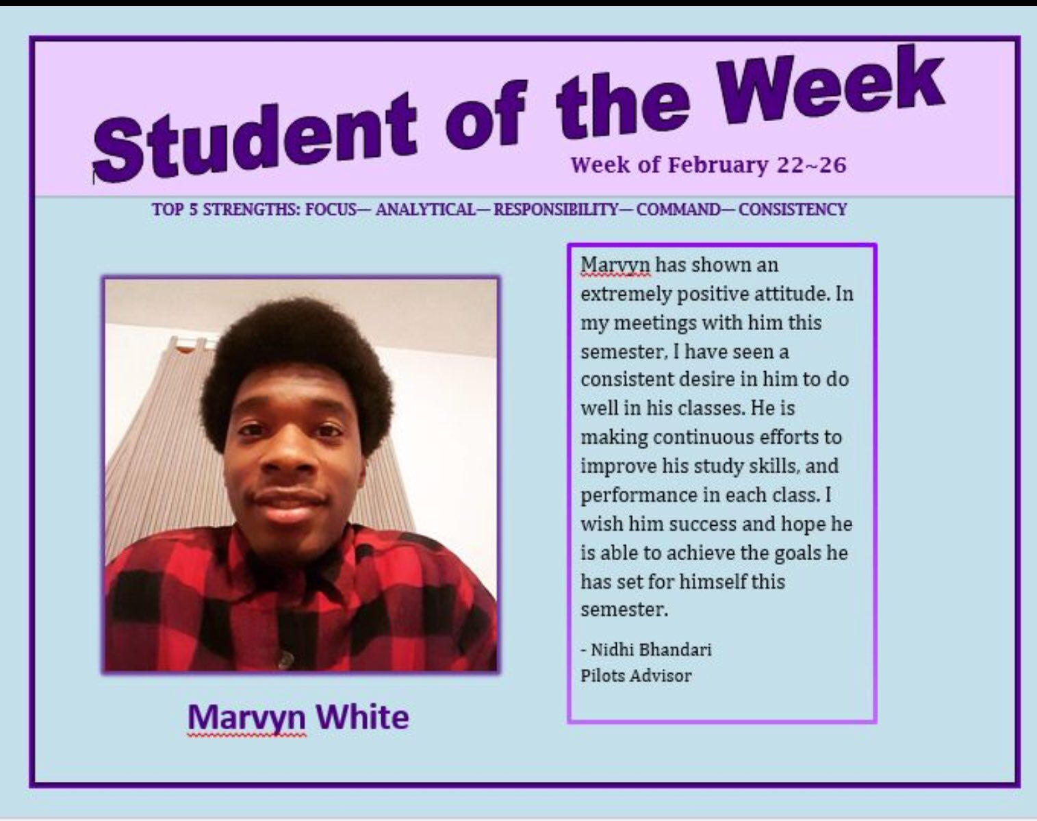 SOTW Marvyn White