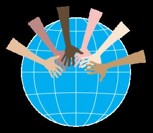 hands across a globe