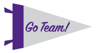 pennant with Go Team! written on it