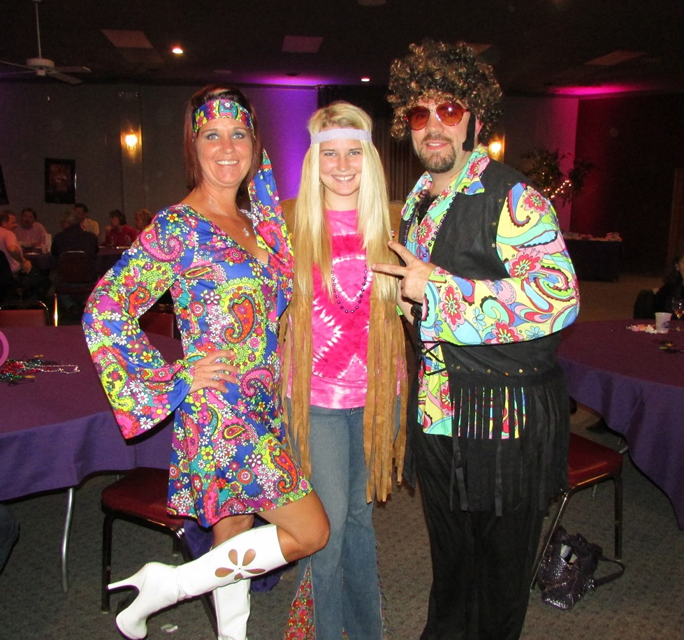 Scroggs Family at Pink & Purple Polyester Party